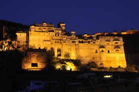 Bundi city palace at night
